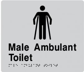 Braille Signs Male Ambulant Toilet Sign MAT-SILVER