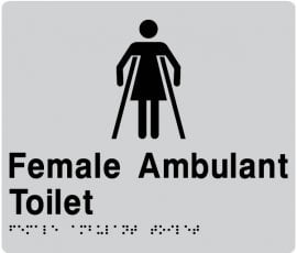 Braille Signs Female Ambulant Toilet Sign FAT-SILVER