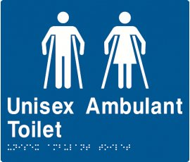 Braille Signs Unisex Ambulant Toilet Sign MFAT-BLUE