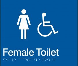 Braille Signs Female Accessible Toilet Sign FDT-BLUE