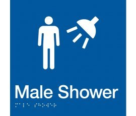 Braille Signs Male Shower Sign MS-BLUE