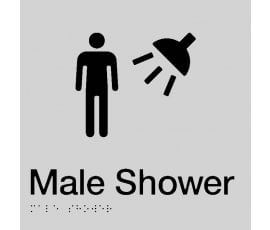 Braille Signs Male Shower Sign MS-SILVER