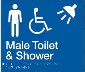 Braille Signs Male Accessible Toilet & Shower Sign MDTS-BLUE