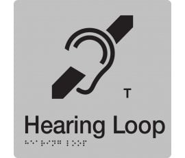 Braille Signs Hearing Loop Sign HL-SILVER