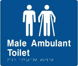 Braille Signs Male Toilet & Male Ambulant Toilet Sign MMAT-Blue
