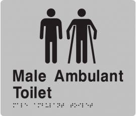Braille Signs Male Toilet & Male Ambulant Toilet Sign MMAT-Silver