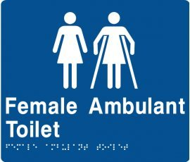 Braille Signs Female Toilet & Female Ambulant Toilet Sign F/FAT-BLUE