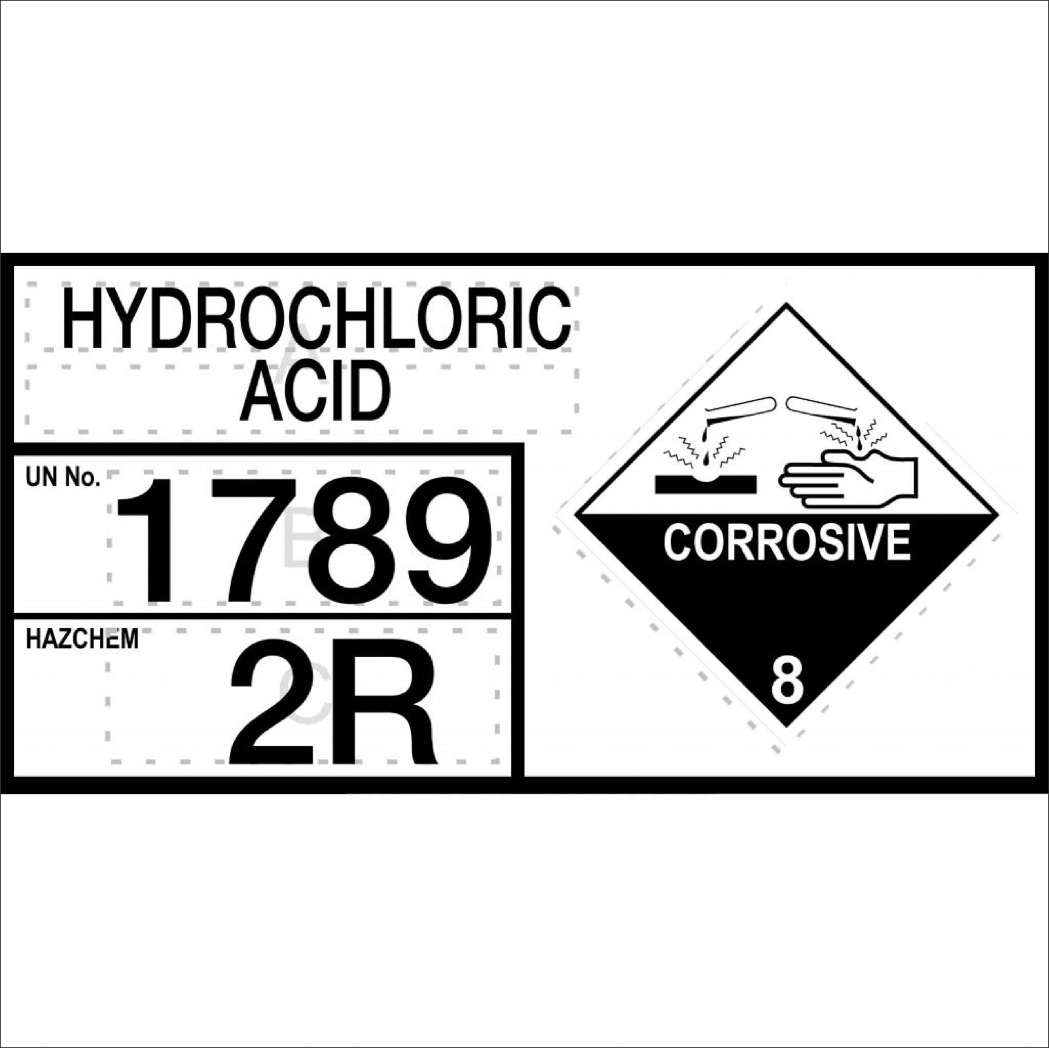 Hazchem Signs HYDROCHLORIC ACID - INFORMATION PANEL
