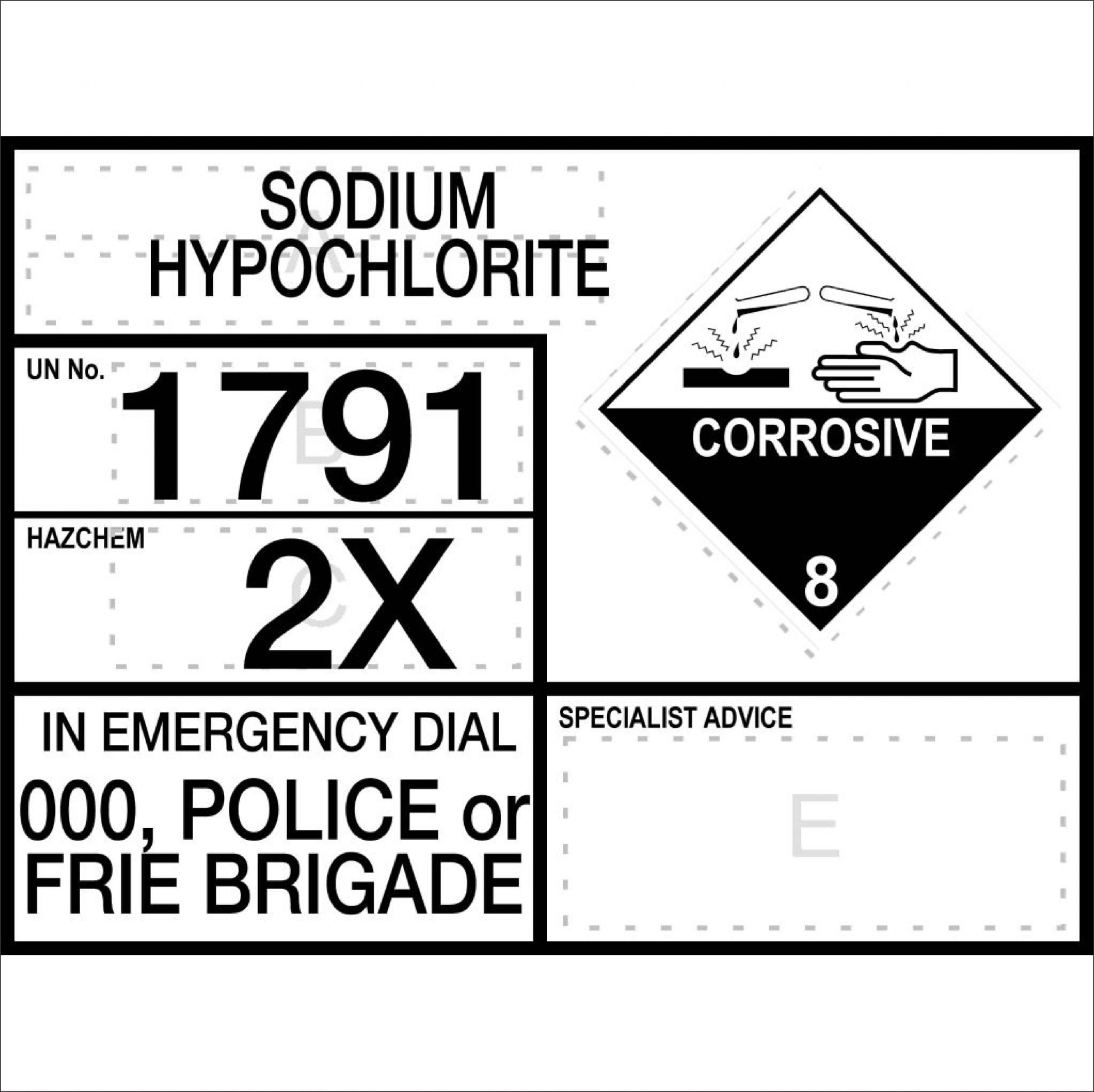 Hazchem Signs SODIUM HYPOCHLORITE - INFORMATION PANEL