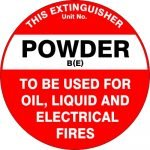Fire Safety Signs EXTINGUISHER ID MARKER POWDER BE