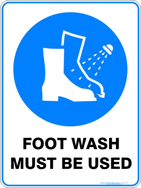 Mandatory Signs FOOT WASH MUST BE USED