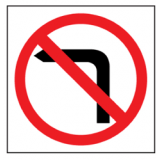 Temporary Traffic Signs NO LEFT TURN PICTO