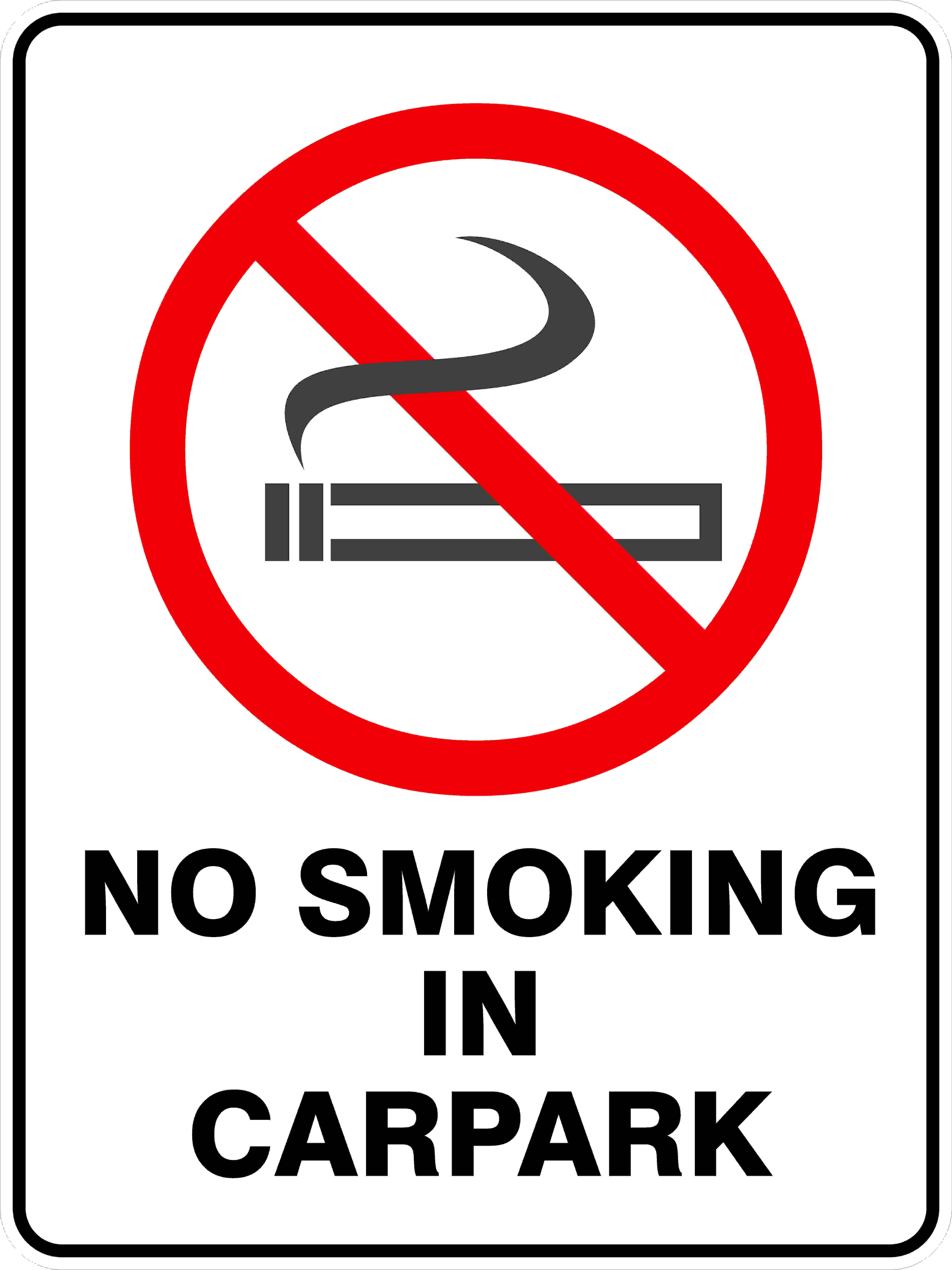 Prohibition Signs NO SMOKING IN CARPARK