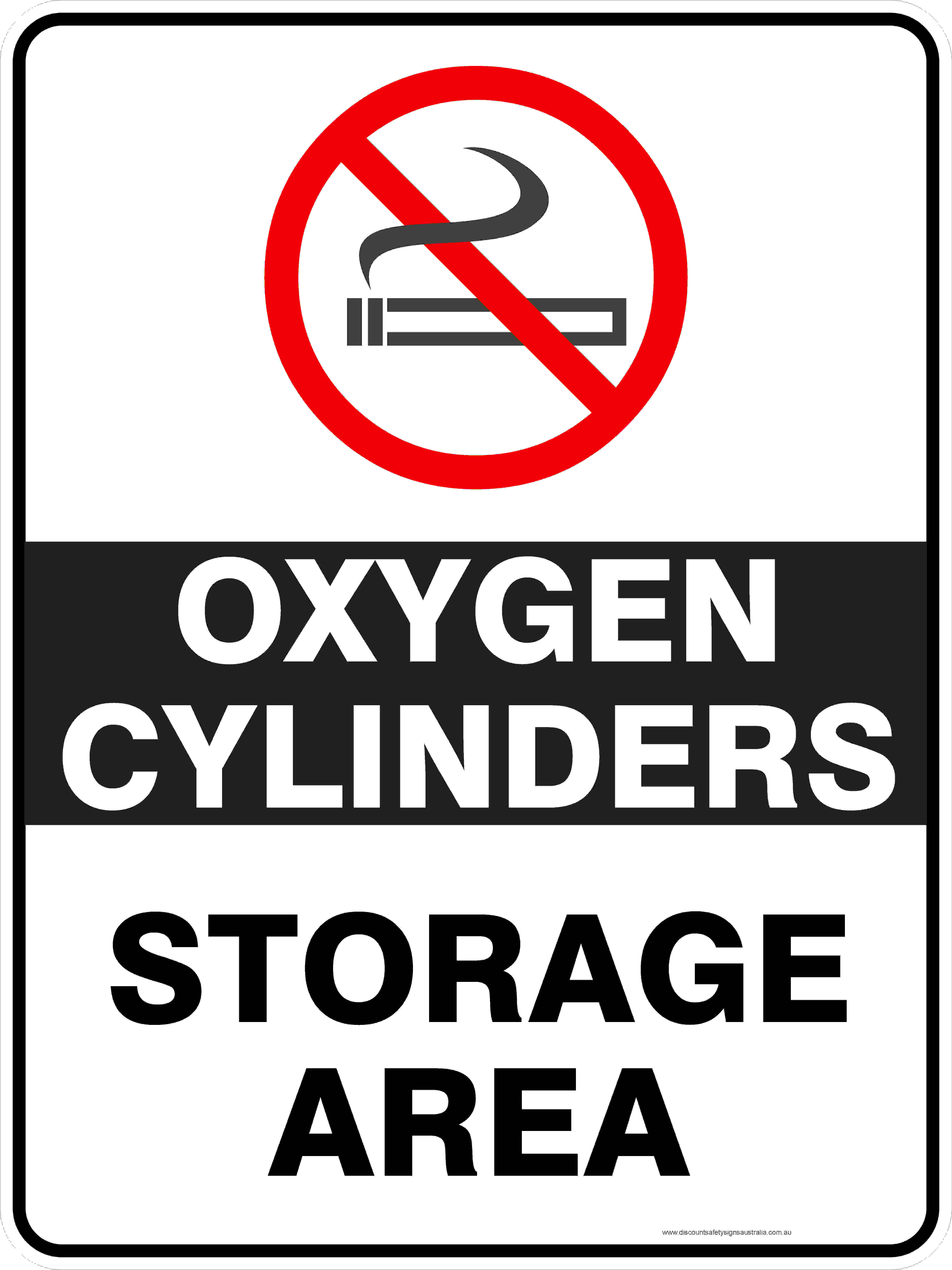 Prohibition Signs OXYGEN CYLINDERS STORAGE AREA