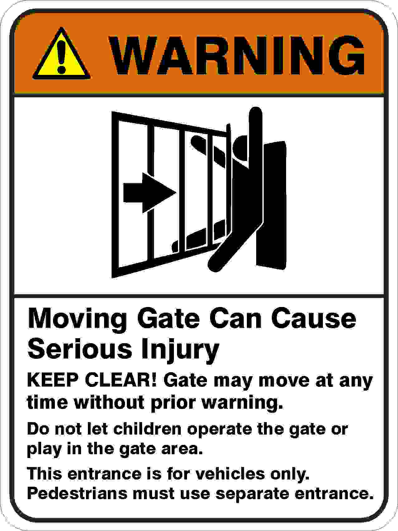 Parking Signs MOVING GATE CAN CAUSE SERIOUS INJURY